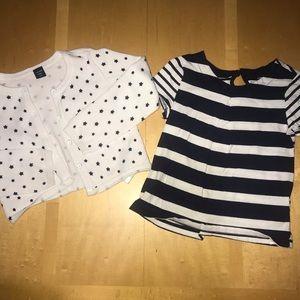 Baby Gap Navy & White Striped Tee & Stars Cardigan